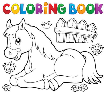 topic: Coloring book horse topic 1 - eps10 vector illustration.