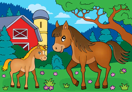 foal: Horse with foal theme image 4 - eps10 vector illustration.