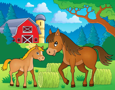 foal: Horse with foal theme image 3 - eps10 vector illustration.