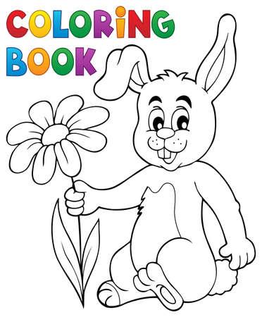 dessin fleur: Coloriage livre lapin de P�ques avec des fleurs - eps10 illustration vectorielle.