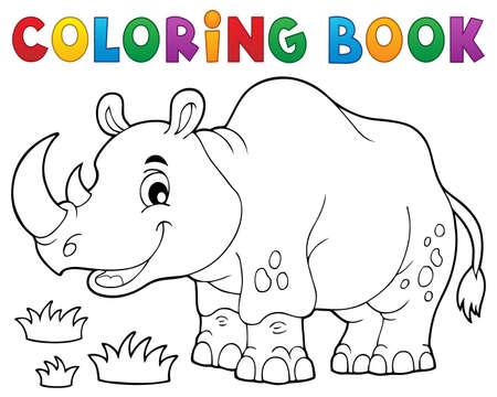 herbivorous animals: Coloring book rhino theme image 1 - eps10 vector illustration.