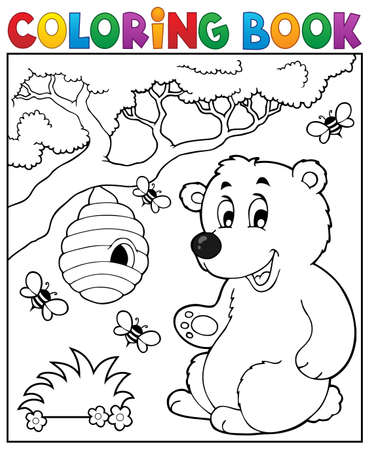 animal themes: Coloring book bear theme 2 - eps10 vector illustration.