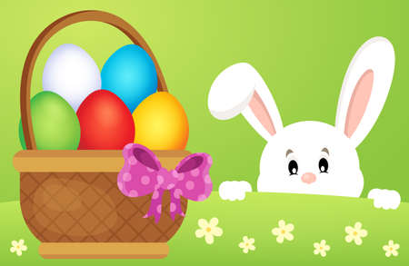 lurk: Lurking Easter bunny by basket with eggs - eps10 vector illustration.