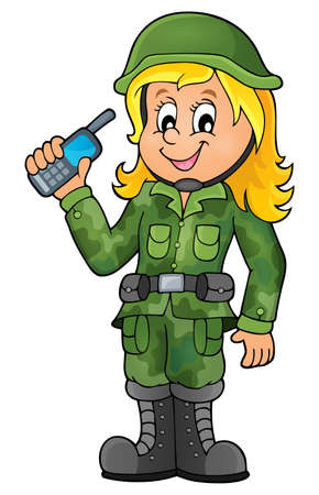 female soldier: Female soldier theme image 1 - eps10 vector illustration.