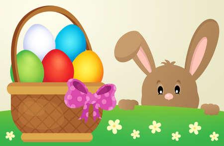 tame: Lurking Easter bunny and egg basket - eps10 vector illustration.