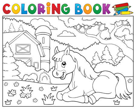 farm structures: Coloring book horse near farm theme 2 - eps10 vector illustration.