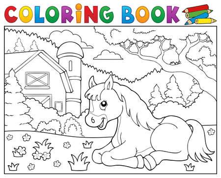 Coloring book horse near farm theme 2 - eps10 vector illustration.