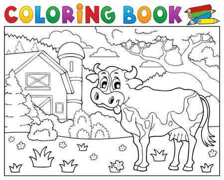 Coloring Book Farm Cartoon Educational Artwork Vector Illustration ...
