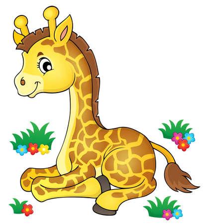 Young giraffe theme image 1 - eps10 vector illustration.