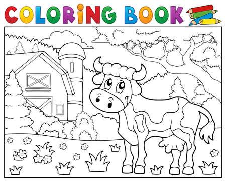 Colorear Caballo Libro Cerca Tema De La Granja 1 - Ilustración ...