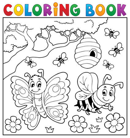 Kolorowanka z Motyl i Pszczoła - ilustracji wektorowych eps10. Ilustracje wektorowe