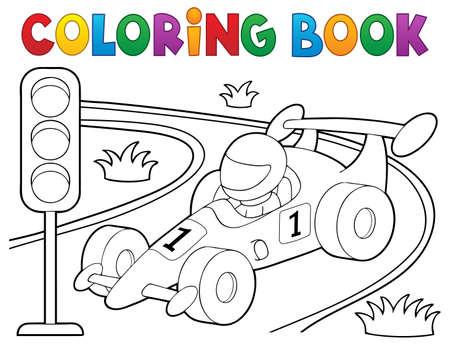 Kolorowanka samochód wyścigowy temat 1 - ilustracji wektorowych eps10.