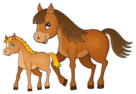 design art: Horse with foal theme image 1 - eps10 vector illustration.