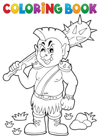 a cudgel: Coloring book orc theme Illustration