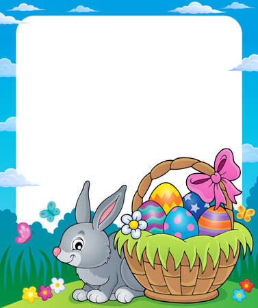 tame: Frame with Easter basket and bunny.