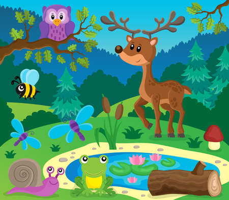 topic: Forest animals topic image. Illustration