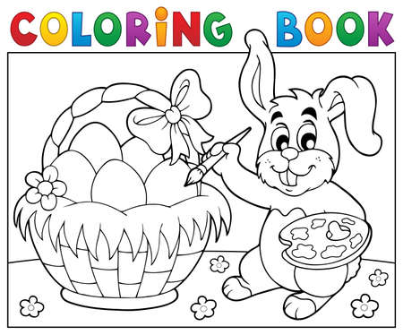 Coloring book bunny painting eggs.