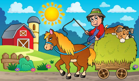 Hay cart with farmer near farm. Illustration