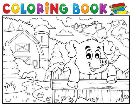 Coloring book pig behind fence near farm.