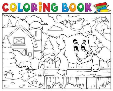 barnyard: Coloring book pig behind fence near farm.