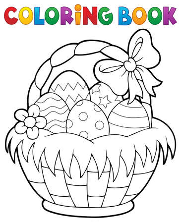 Coloring book Easter basket theme.