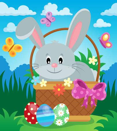 tame: Easter basket with bunny theme.