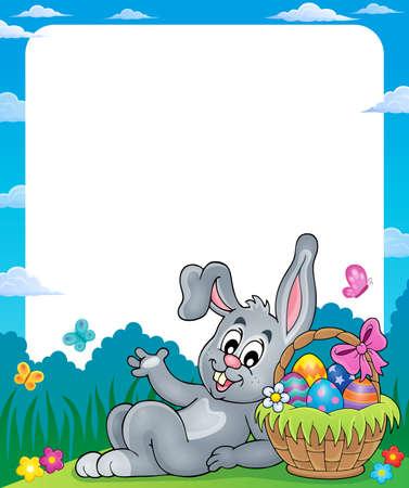 marcos decorativos: Capítulo con la cesta de Pascua y el conejo.