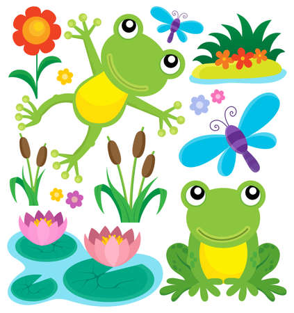 artistic flower: Frog thematic set.