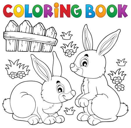 tame: Coloring book rabbit. Illustration