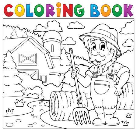 farmyard: Coloring book farmer near farmhouse.
