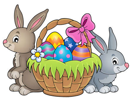 Easter basket theme image. 向量圖像