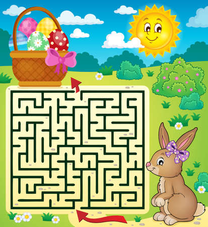 a way: Maze 3 with Easter bunny and egg basket.