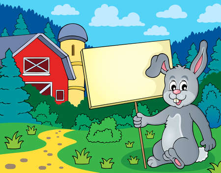 tame: Rabbit with sign theme image.