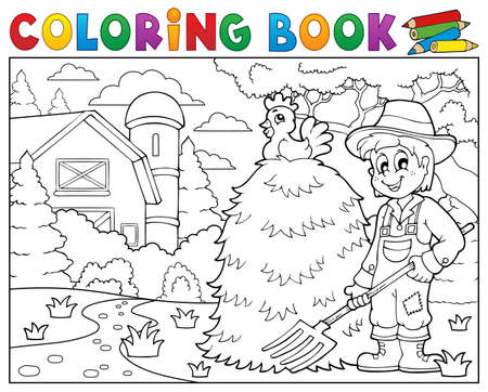farmhouse: Coloring book farmer near farmhouse.