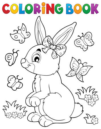 Coloriage livre lapin.