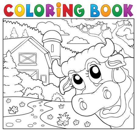 lurk: Coloring book lurking cow near farm.
