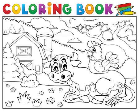Coloring book cow near farm theme.