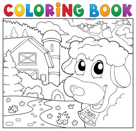 sheep barn: Coloring book lurking sheep near farm.