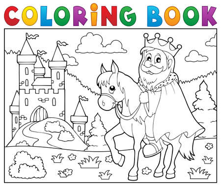 horseback riding: Coloring book king on horse theme. Illustration