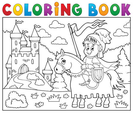 chivalry: Coloring book knight on horse. Illustration