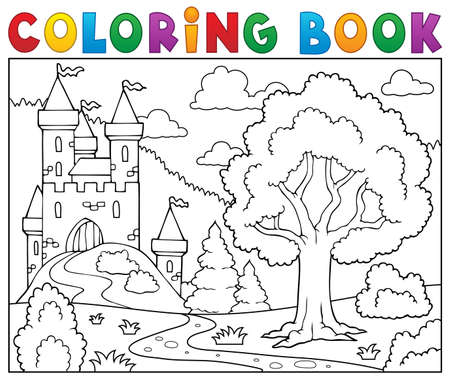 Coloring book castle and tree.