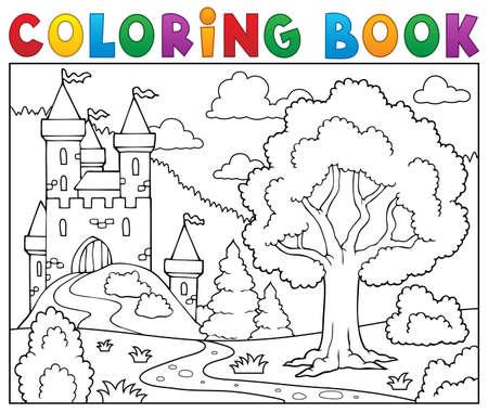 Kolorowanka zamek i drzewa. Ilustracje wektorowe