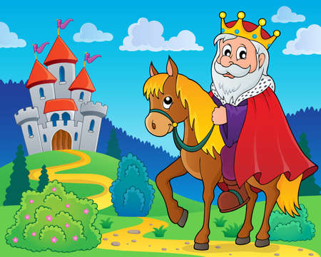 hill of the king: King on horse theme image.
