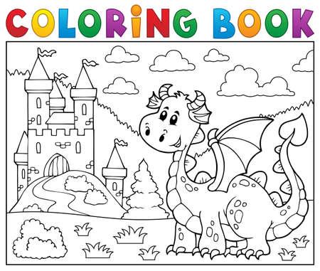 mythological character: Coloring book dragon. Illustration