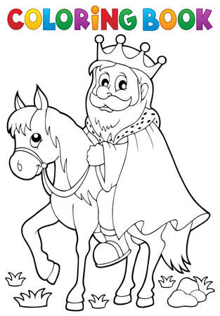 Coloring book king on horse theme.