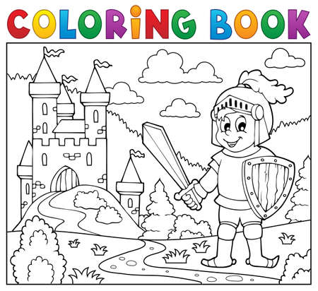 Coloring book knight. Stock Illustratie