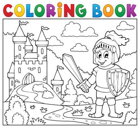 Coloring book knight. Vettoriali