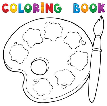 wood working: Coloring book paint palette theme. Illustration
