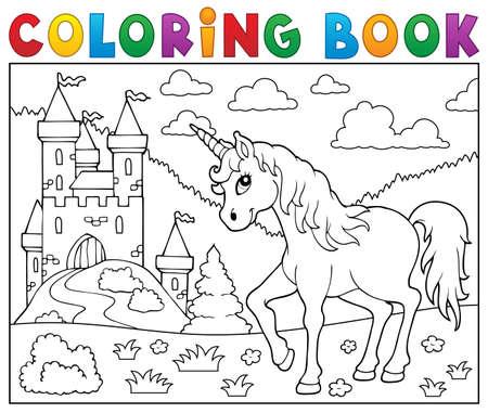 Coloring book unicorn.  イラスト・ベクター素材