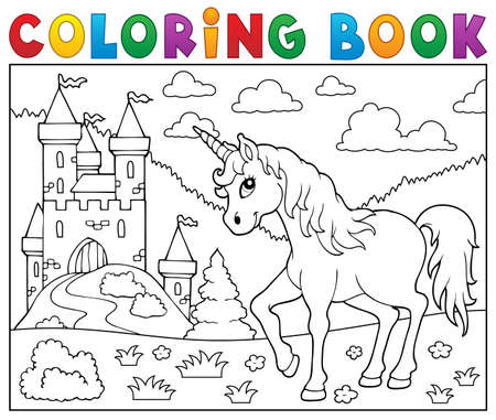 Coloring book unicorn. 일러스트